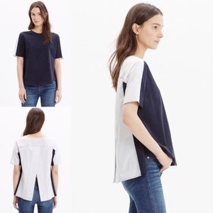 Madewell Oxford Navy Panel Tee Open Back S
